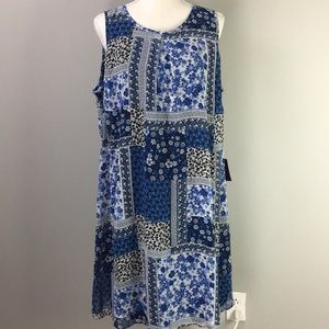 By & By sheer print midi blue floral dress size 1x